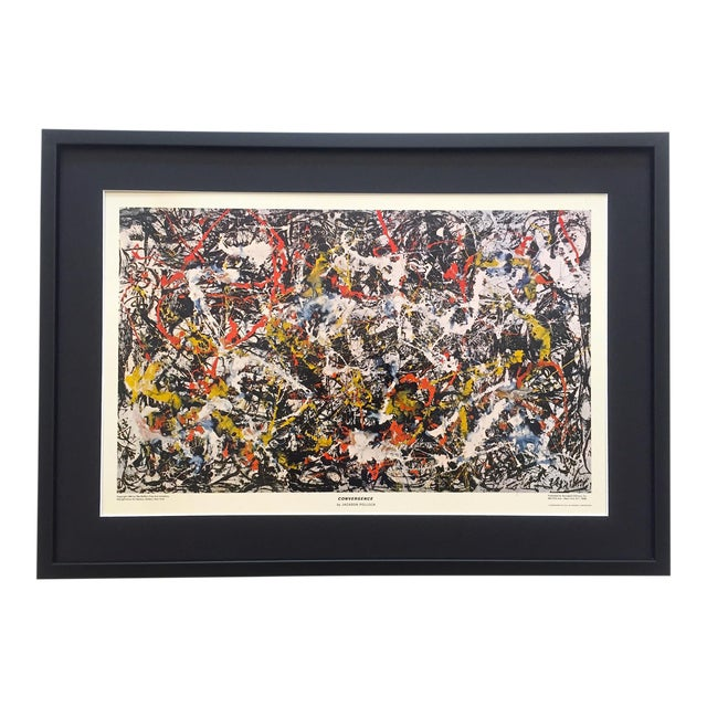 """Jackson Pollock Rare Vintage 1964 Mid Century Modern Framed Abstract Expressionist Lithograph Print """" Convergence """" 1952 For Sale"""