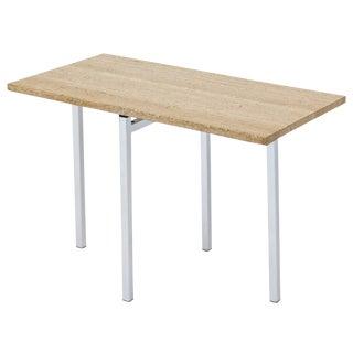 Italian Travertine & Chrome Side Table For Sale
