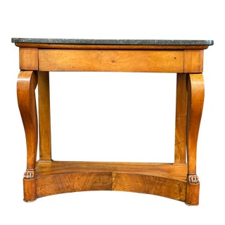 19th Century Empire Mahogany Marble Top Walnut Pier Table For Sale