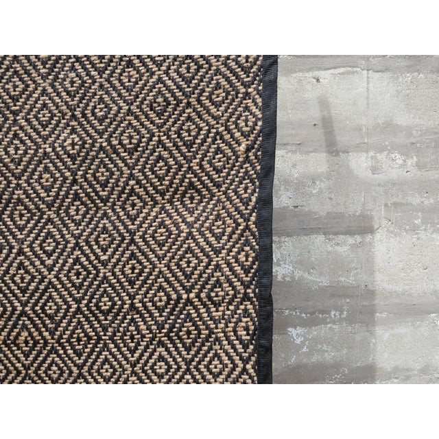 Rustic Diamonds Last Forever Handwoven Jute Rug - 3′3″ × 6′5″ For Sale - Image 3 of 4