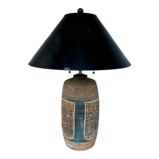 Mid Century Modern Hand Thrown Pottery Lamp by Hal Lasky