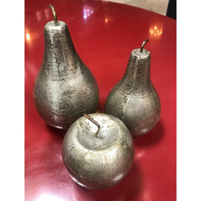 1970s Mid-Century Modern Decorative Silver Leaf Wood Fruits - Set of 3 For Sale - Image 9 of 9