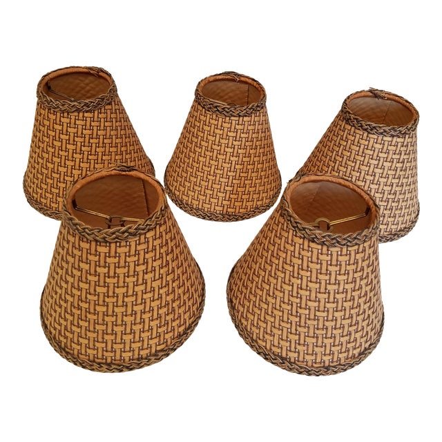 Wicker Chandelier Shades - Set of 5 For Sale