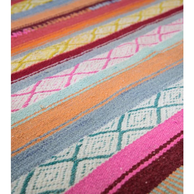 Using the same techniques as their Incan ancestors, this one-of-a-kind frazada was handwoven on a backstrap loom in...