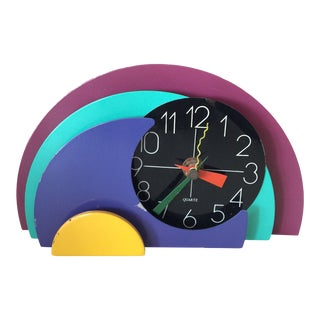1990s Tabletop Modern Elliptical Clock For Sale
