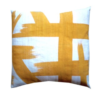 Yellow Mudcloth Pillow Cover For Sale