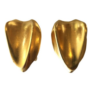 Donna Karan Gold Tone Clip Earrings For Sale