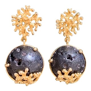 Lava Rock and Gold Faux Coral Pierced Earrings For Sale