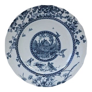 Antique Flow Blue Woodland Wall Plate