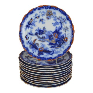 19th Century English Ironstone Blue and White Chinoiserie Plates- Set of 12 For Sale