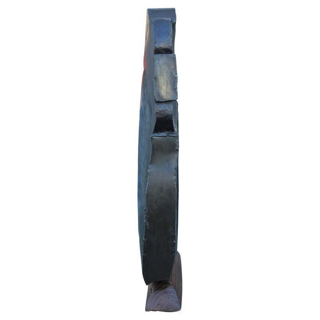 1990s Modern Abstract Organic Metal and Wood Sculpture Signed Schmidt For Sale - Image 4 of 11