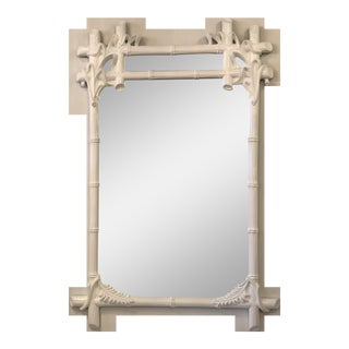 Vintage Gampel and Stoll White Lacquered Faux Bamboo Wall Mirror For Sale