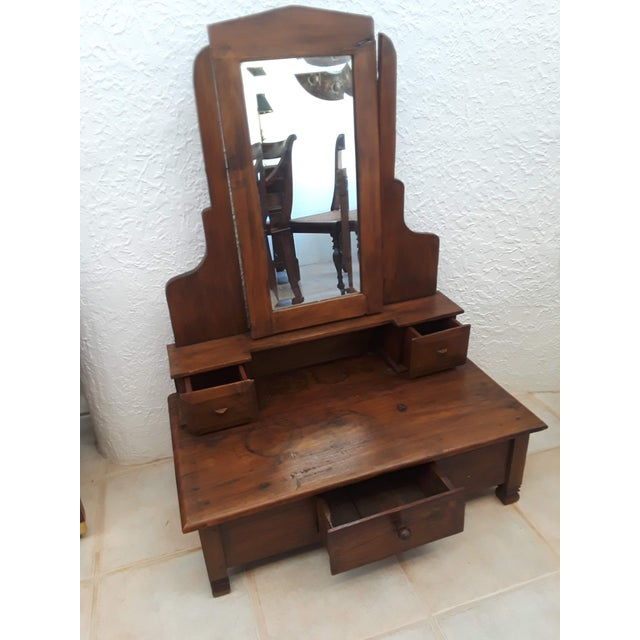 Small dressing mirror from Indonesia made from old reclaimed teak wood Mirror moves 1 large drawe 2 small drawers Made...