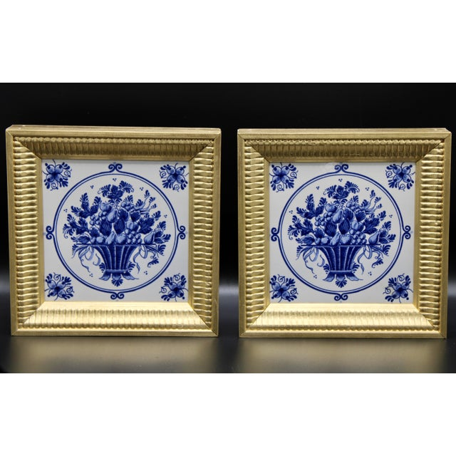 Mid-20th Century Dutch Delft Floral Gilt Wood Framed Tiles - a Pair For Sale - Image 11 of 13