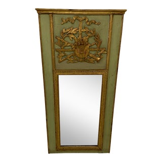 Large Antique Giltwood Louis XVI Trumeau Mirror For Sale
