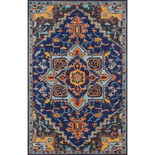 Ibiza Navy Hand Tufted Area Rug 6' X 9' For Sale