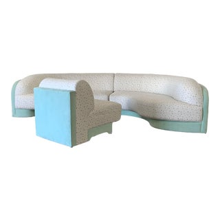 Vladimir Kagan for Preview 3 Piece Sectional Sofa, Mint and Confetti, 1990's For Sale