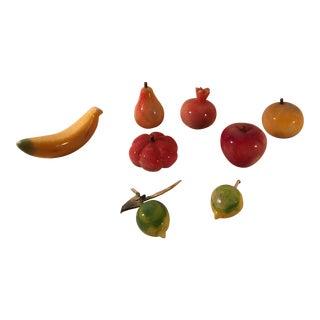 Mid-Century Modern Marble Fruit Figurines - Set of 8