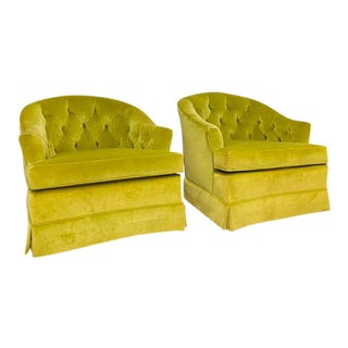 Vintage Mid Century Drexel Heritage Chartreuse Velvet Swivel Chairs - a Pair For Sale