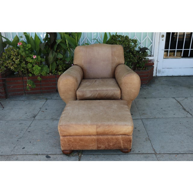 Vintage Leather Club Chair and Ottoman Set For Sale - Image 4 of 8