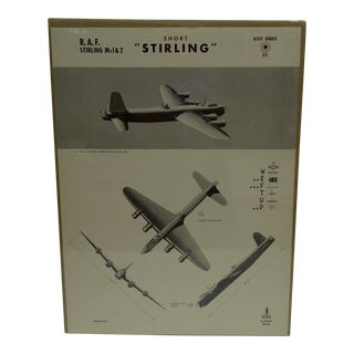 """Vintage """"Short Sterling"""" WWII Aircraft Recognition Poster Circa 1942"""