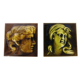 Victorian Portrait Tile Pair by Kensington Tile For Sale