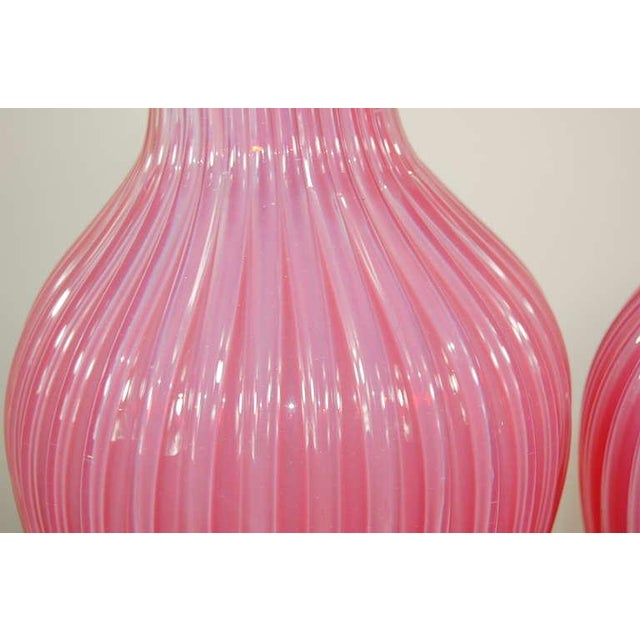 Marbro Murano Opaline Glass Table Lamps Pink For Sale - Image 9 of 10