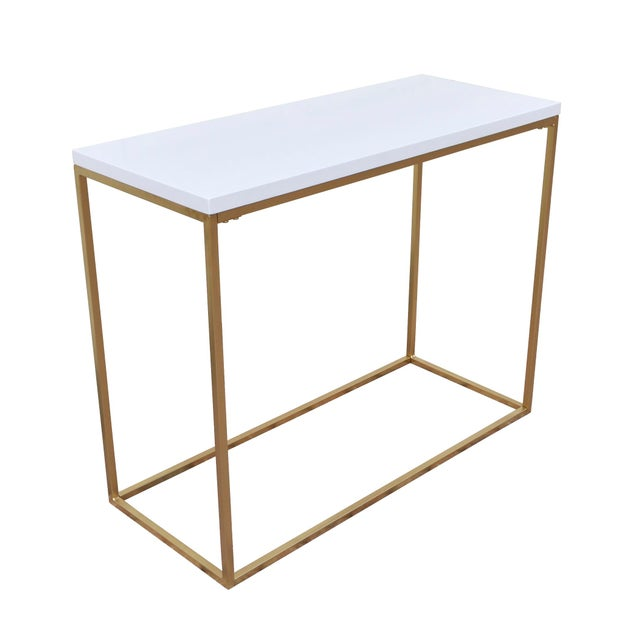 White and Gold Console Table - Image 2 of 4