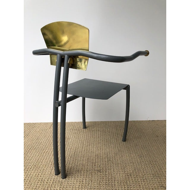 Gold 1980s Vintage Sculptural Memphis Style Arm Chair For Sale - Image 8 of 9