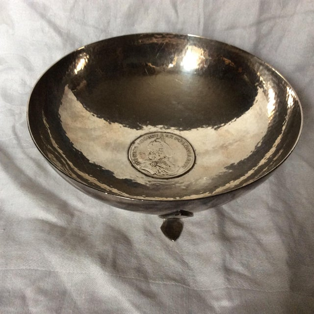 Footed Shreve Sterling Silver Coin Inlay Bowl For Sale - Image 11 of 11