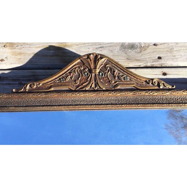 Antique Three-Pane Carved Wood Mantle Mirror - Image 3 of 11