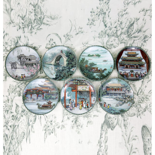 """""""Scenes From the Summer Palace"""" Imperial Jingdezhen Porcelain Collector Plates - Set of 7 For Sale - Image 13 of 13"""