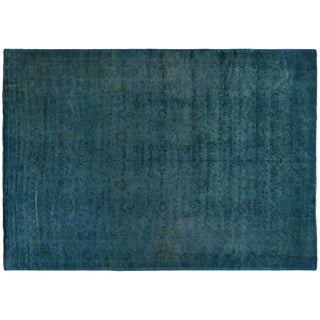 Turquoise Silky Wool Overdyed Rug - 11′8″ × 16′2″ For Sale