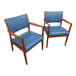 Vintage Mid-Century Danish Modern Teak Dining / Side Arm Chairs- a Pair For Sale