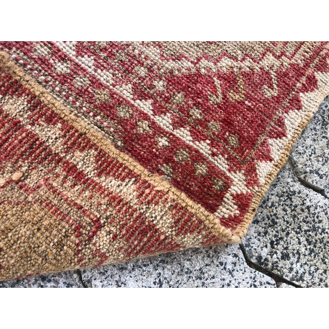 Traditional Vintage Red Turkish Handmade Door Mat Rug - 1′6″ × 2′8″ For Sale - Image 3 of 6