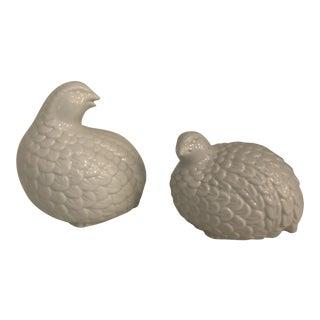 Vintage White Ceramic Quails - a Pair For Sale