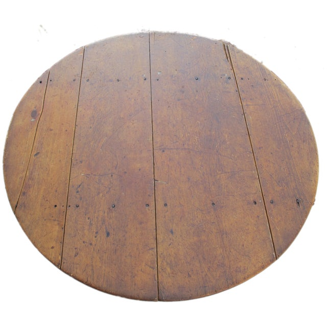 Primitive 18th-Century New England Round Hutch Table For Sale - Image 3 of 11