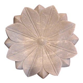Early 21st Century Vintage Marble Lotus Tray For Sale