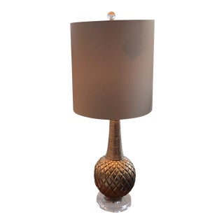 Silver Carved Bulb Tall Skinny Lamp For Sale