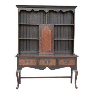 19th Century Antique English Oak Welsh Plate Dresser Buffet Sideboard Cabinet Hutch For Sale