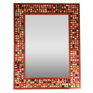 Modern Eclectic Red Wood Bottle Cap Wall Mirror For Sale