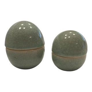 Maitland-Smith Vintage Celadon Dome Boxes - A Pair For Sale