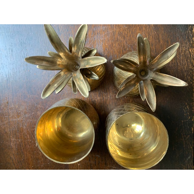 Brass 1960s Vintage Solid Brass Lidded Pineapple Containers - A Pair For Sale - Image 7 of 10