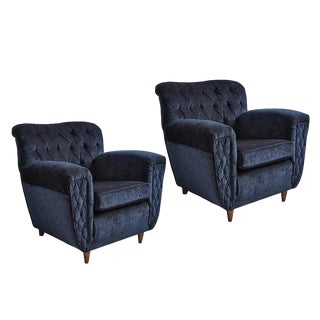 Pair of English Tufted Lounge Chairs in Midnight Blue Chenille Circa 1945