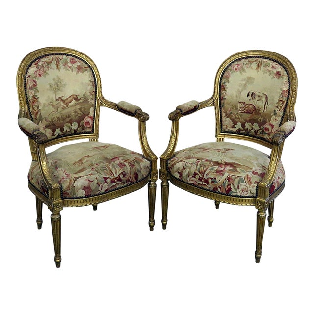 Pair of French Louis XVI Style Needlepoint Fauteuils For Sale