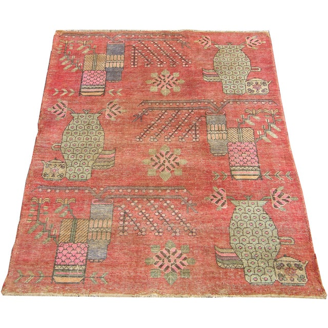 Early 19th Century 19th Century Tribal Antique Uzbek Samarkand - 6'5'' X 4'4'' For Sale - Image 5 of 6