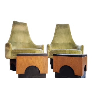 "1960s Vintage Adrian Pearsall ""Strictly Spanish"" Lucky Green With End Table Set- 4 Pieces For Sale"