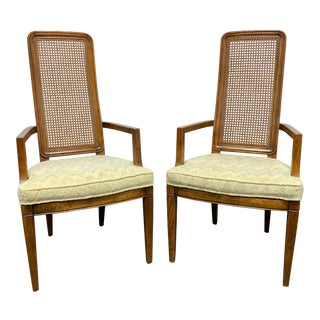 Henredon Artefacts Campaign Style Dining Captain's Armchairs - Pair For Sale