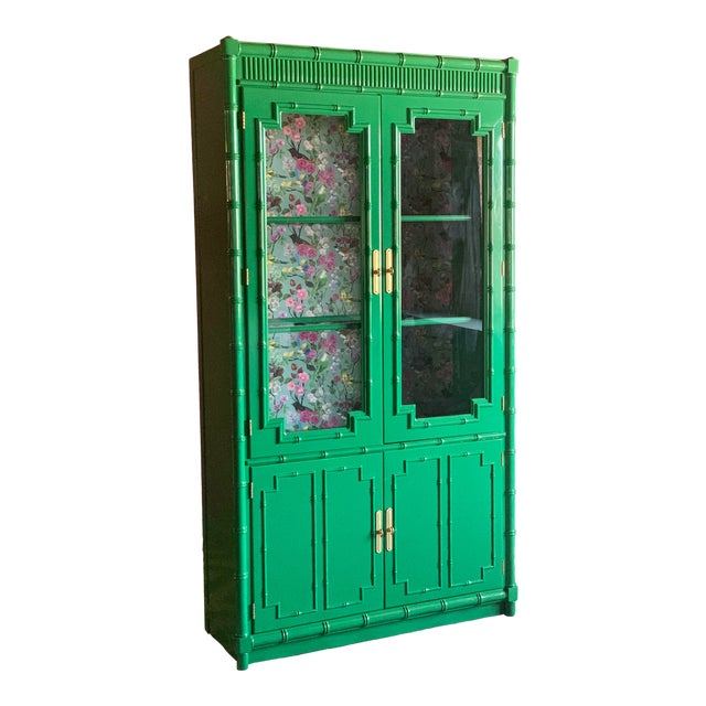 1960's Vintage Green Lacquered China Cabinet For Sale