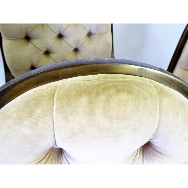 1960s Vintage Mastercraft Brass Tufted Velvet Dining Chairs - Set of 6 For Sale - Image 11 of 13